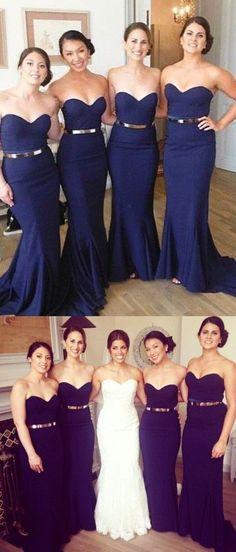 navy blue long bridesmaid dress, mermaid bridesmaid dress, strapless bridesmaid dress, 2017 bridesmaid dress,158