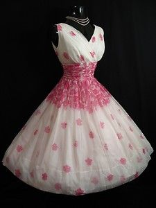 Vintage 1950's 50s PINK White Floral CHIFFON Organza Party Prom Wedding DRESS