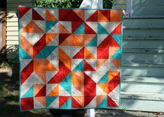 """Baby Bridget's quilt. Machine pieced; machine quilted. Essex linen + shot cotton + cotton. 32"""" x 32"""". (2012)"""