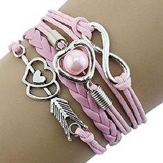Doinshop Infinity Love Heart Pearl Friendship Antique Leather Charm Bracelet (pink) Doinshop (TM) http://www.amazon.com/dp/B015XTL5LK/ref=cm_sw_r_pi_dp_binYwb1229GDB
