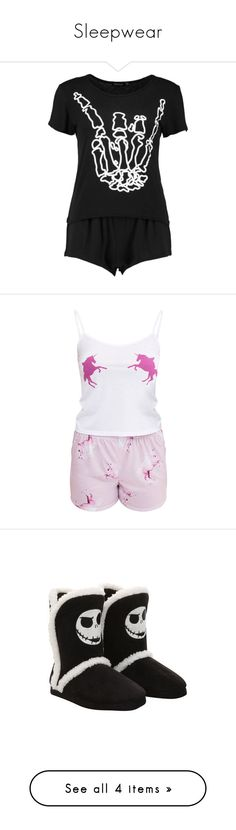 """""""Sleepwear"""" by raven-couture ❤ liked on Polyvore featuring intimates, sleepwear, pajamas, tops, shirts, skeleton pajamas, unicorn pyjamas, pink pajama set, unicorn pjs and unicorn sleepwear"""