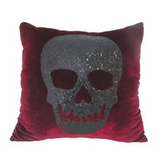 Why leave the Halloween decor to just the outside, when you bring it inside with this cozy Red Velvet Sequin Skull Pillow! This throw pillow features a smiling glittering black skull on a gorgeous red velvet background. Velvet Pillows, Throw Pillows, Throw Blankets, Soft Pillows, Skull Pillow, Gothic Furniture, Skull Furniture, Gothic Halloween, Halloween Vampire