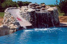Dallas gunite pool with mosaic water slide