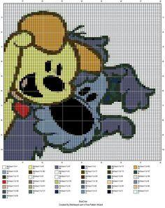 Pixeldeken patroon haken - Woezel en pip Pixel Crochet, C2c Crochet, Crochet Pillow, Crochet Chart, Baby Blanket Crochet, Cross Stitch Charts, Cross Stitch Patterns, Cross Stitching, Cross Stitch Embroidery