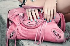 pink balenciaga blue nails