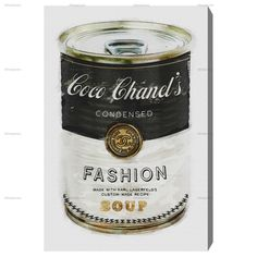 Fashion Soup - Modernarte — The Oliver Gal Artist Co. Warhol campbell soup chanel print canvas home art living room lounge bedroom