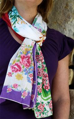scarf made from vintage hankies. Oh my gosh, totally making this! Who wants to go to the antique mall with me on Monday?!
