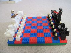 a Chess Set Out of LEGOs Build a Chess Set Out of LEGOs. I would use a Friend's Lego figure for the queen.)Build a Chess Set Out of LEGOs. I would use a Friend's Lego figure for the queen. Lego Duplo, Lego Robot, Lego Batman, Legos, Lego Chess, Lego Club, Lego Activities, Lego Figures, Lego Storage