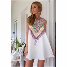 🆑 White Aztec Printed Boho Mini Dress White Printed Aztec Boho Mini Dress. Price is rock bottom. If you would like more discount please bundle. 2 Items 10% Off 3 + Items 15% Off GlamVault Dresses Mini