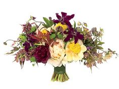 Rustic, vintage bouquet of peonies, fritallarias, clematises, helleborus, Japanese maple, and passion vine.