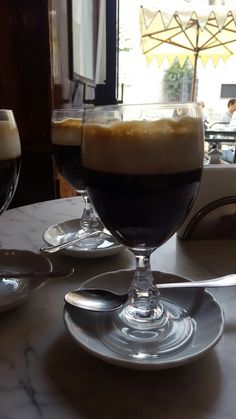 luscious bicerin is Turin's staple coffee drink made with espresso, chocolate and frothed cream