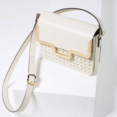 BRAIDED MESSENGER BAG from Zara in Ecru