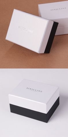 Simple black and white gift box with custom printed logo.   View more at http://www.sinicline.net/.   #giftbox #packaging