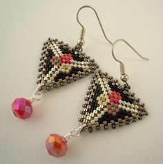 Beaded Earrings Delica Beaded Peyote Triangle by onebeadtwobead, $18.00
