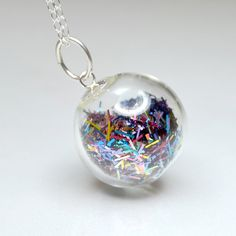 Multicolor tinsel blown glass ball sterling silver necklace