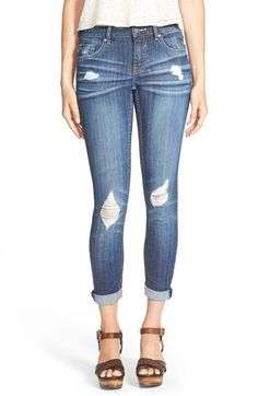 Free shipping and returns on Vigoss 'Tomboy' Destroyed Skinny Jeans at Nordstrom.com. Threadbare holes rough up the whiskered, medium-blue denim of cool, casual skinny jeans woven with a bit of stretch to ease the fit.