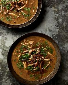 Yotam Ottolenghi's shredded chicken with wild mushroom broth: