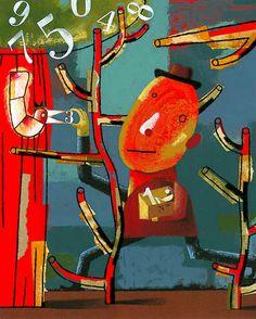 """Isidro Ferrer """"la recolección"""" Cardboard Art, Cartoon Tv, Illustrations Posters, Surrealism, Illustrators, Art Projects, Mixed Media, Illustration Art, Arts And Crafts"""