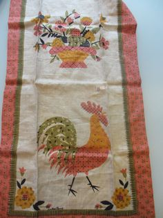 Vintage Luther Travis Rooster Tea Towel by MemphisNanney on Etsy, $15.50