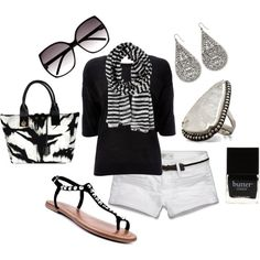 black and white, created by juarezcourtney on Polyvore