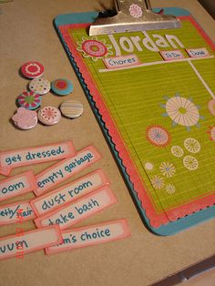 """Kids Magnetic Chore Chart Clipboard ~ List the chores to be completed on the left column with a magnetic marker. When the chore is finished slide the magnetic marker over to the """"done"""" column."""