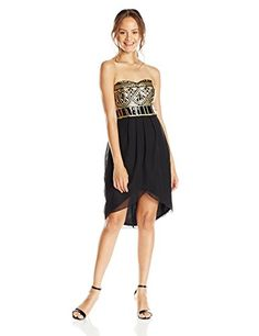 As U Wish Junior's Strapless Goddess Party Dress with Sequins and Tulip Skirt, Black, 9
