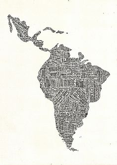 lettering map of Latin America 2015