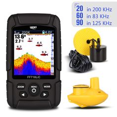 """LUCKY Portable Wireless Fish Finder Echo Sounder 2.8"""" Color LCD 200KHz/83KHz Dual Sonar Frequency 328ft  FF718LiCD Echo Sounders"""