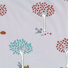 Little Apples Trees Grey -- yawww little coloured apple trees on grey 100% cotton. Love!