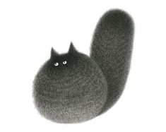 Artist Kamwei Fong painstakingly creates these textured, fluffy black cats, using only fine-line pen. The illustrations, a series called The Furry Thing, are the gorgeous end product of a technique that requires a great deal of skill and patience. Fluffy Black Cat, Fluffy Cat, Monkey Drawing, Cat Drawing, Basic Drawing, Drawing Artist, Dog Cat, Chat Kawaii, Cat Art