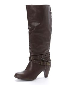 Brown Buckle-Strap Boot