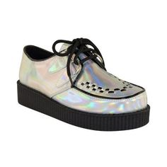 Fashion Thirsty Womens Creeper Goth Punk Platform Lace Up Shoes Flat... ($23) ❤ liked on Polyvore featuring shoes, goth platform shoes, laced shoes, punk rock shoes, flat platform shoes and gothic shoes