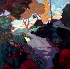 iamjapanese: Karin Daymond(South African, Elise's Path Oil On Canvas Thé Illustration, Illustrations, Abstract Landscape, Landscape Paintings, South African Artists, Tree Art, Beautiful Paintings, Art Museum, Contemporary Art