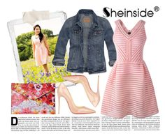 """""""Pink Hollow Striped Dress with SheInside"""" by beccaannh ❤ liked on Polyvore"""