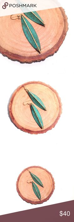 """• the artisanal earrings brushed metal leaf-shaped earrings handcrafted by a jewelry artist located in the finger lakes. measure 2"""" in length. Jewelry Earrings"""