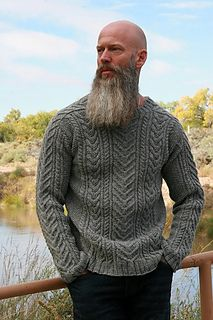 Ravelry: Yule Sweater pattern by Anne Podlesak Mens Knit Sweater Pattern, Mens Cable Knit Sweater, Men Sweater, Sweater Patterns, Aran Knitting Patterns, Crochet Stitches Patterns, Ravelry, Seed Stitch, Knitted Hats