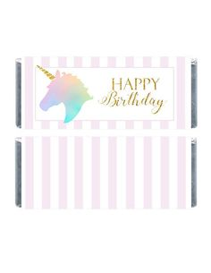 Unicorn Chocolate Bar Wrapper Striped Unicorn Birthday Party Wrappers