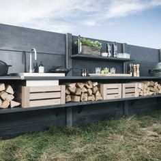 Outdoor Kitchen Ideas - Get your WWOO on with our fabulous bespoke designed concrete outdoor Kitchens - shown here in Anthracite Grey
