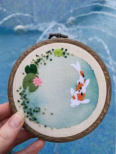 Most current Free of Charge simple Embroidery Designs Strategies A simple little koi in a pond : Embroidery Embroidery On Clothes, Learn Embroidery, Hand Embroidery Stitches, Modern Embroidery, Embroidery Hoop Art, Hand Embroidery Designs, Cross Stitch Embroidery, Hand Stitching, Funny Embroidery