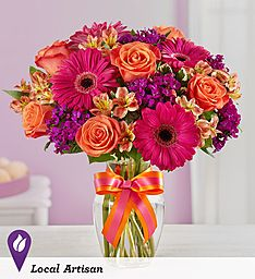 Sugar 'n' Spice Bouquet™ EXCLUSIVE Sugar and spice and everything nice... that's what our bright and beautiful bouquet is made of! Floral designer Tricia Smith of 1-800-Flowers | Twinbrook Floral in Fairfax, Virginia combined vibrant orange roses, hot pink Gerbera daisies and more for a fun and fashionable arrangement that's sure to surprise and delight someone special in your life.