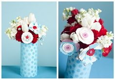vase of paper and real flowers