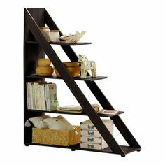 "Ladder-style bookcase with four open shelves. Product: BookcaseConstruction Material: Engineered woodColor: Dark brownFeatures: Four open shelvesDimensions: 59"" H x 47.75"" W x 15.6"" D"