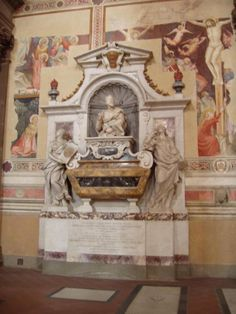 Galileo's grave in the Basilica Santa Croce in Florence Italy