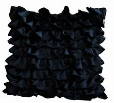 Decorative pillow in Black Satin with Ruffles by AmoreBeaute