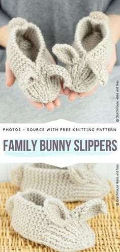 Cute Bunny Slippers Ideas Free Knitting Patterns : Family Bunny Slippers Free Knitting Pattern Having cold feet can definitely mess up your day. Therefore I may have found a perfect solution. They are a great accessory for coming chill so Easy Knitting Projects, Knitting For Beginners, Crochet Projects, Knitting Tutorials, Knitting Ideas, Bunny Slippers, Knitted Slippers, Knit Slippers Pattern, Cardigan Pattern