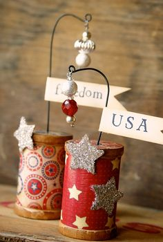 cute 4th of July spool craft