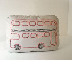 London  Double Decker Bus - Sashiko inspired pillow.