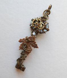 Falling Maple Leaf Clockwork Key Pendant A by silverowlcreations