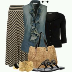 I love everything about this outfit... the denim sleeveless blouse is so cool!!!! (Polyvore)