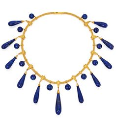 Archaeological-Revival Gold and Lapis Lazuli Necklace. The 11 lapis lazuli drops measuring approximately 38.0 by 10.0 mm to 24.0 by 9.0 mm, suspended from wedge-shaped links decorated with granulation and bordered by double rows of twisted gold wire, interspersed by 12 lapis lazuli cabochons measuring approximately 10.7 to 9. mm, completed by a foxtail link chain, length 15¾ inches, with French import mark; circa 1880.